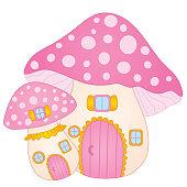 Vector Cute Mushroom House. Vector Amanita House