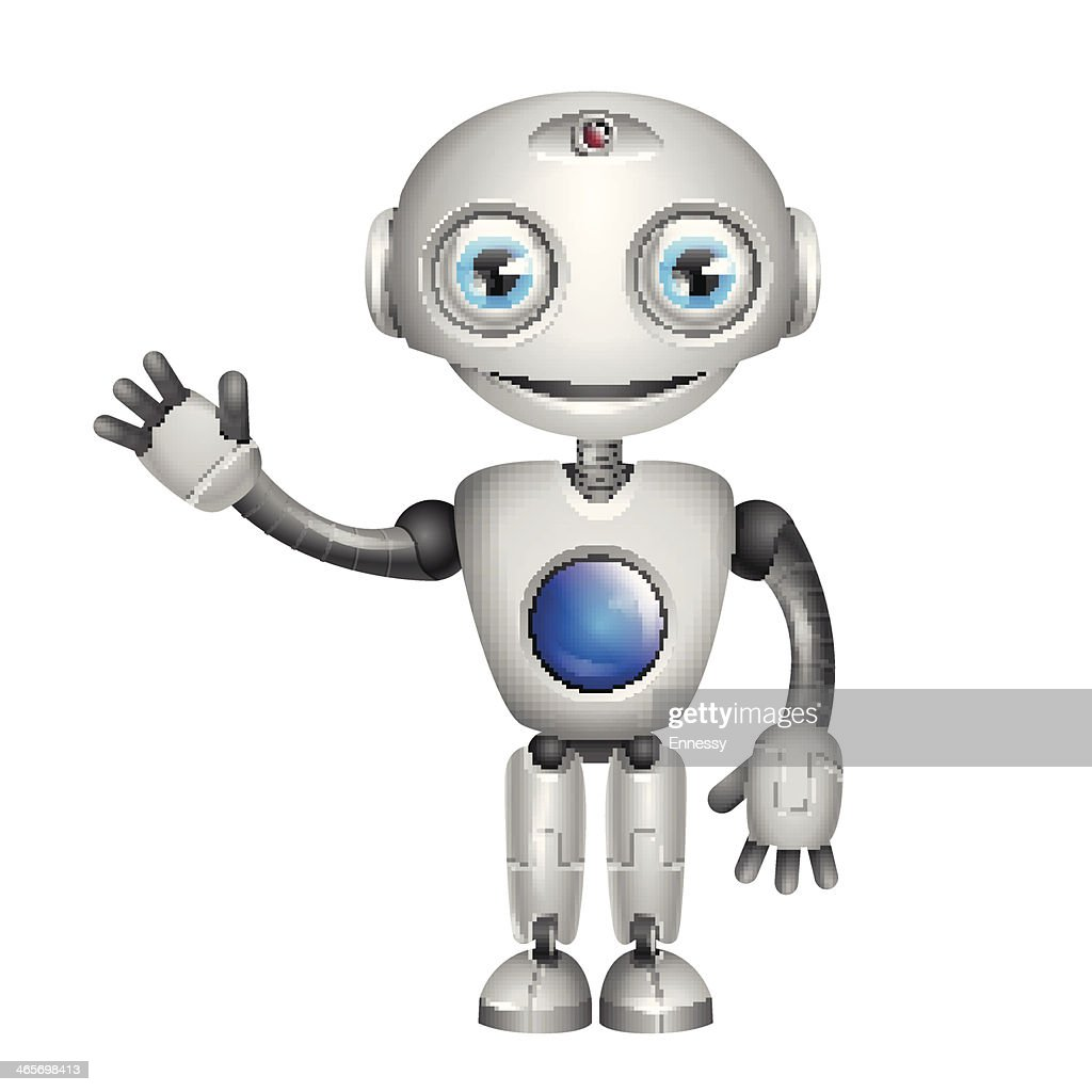 Vector Cute Robot with big eyes