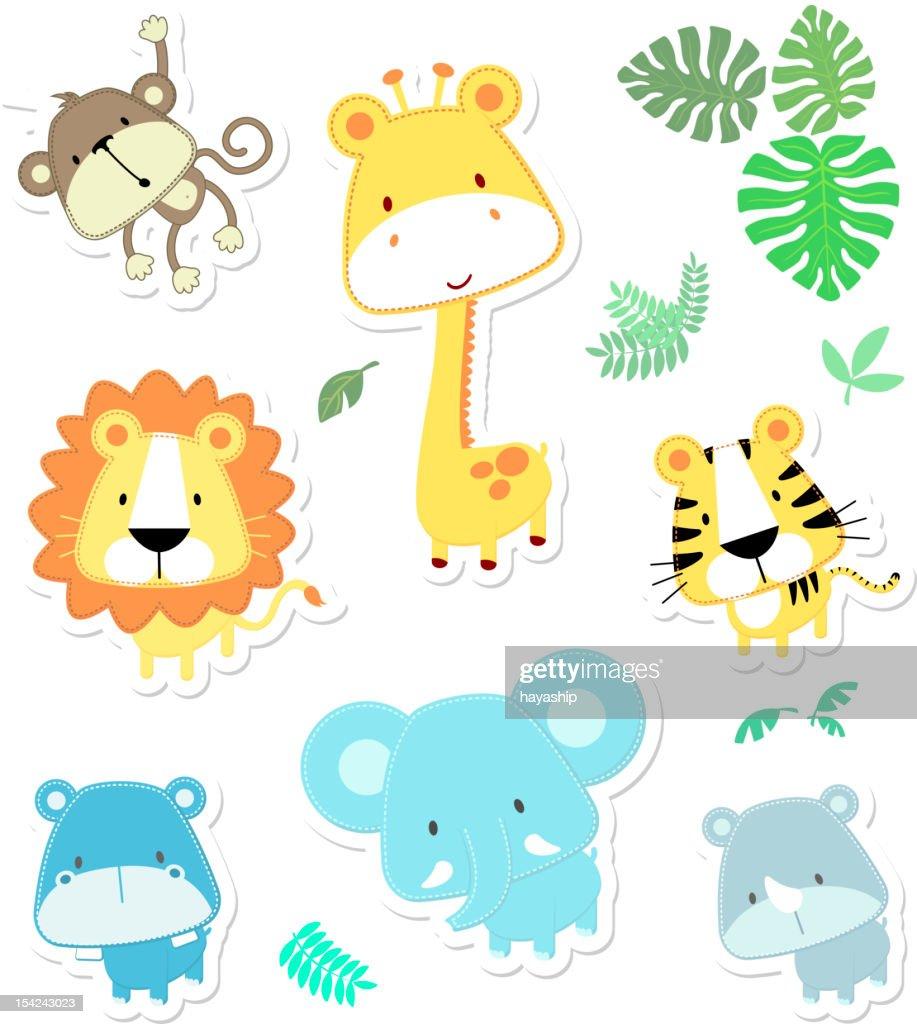 vector cute safari animals