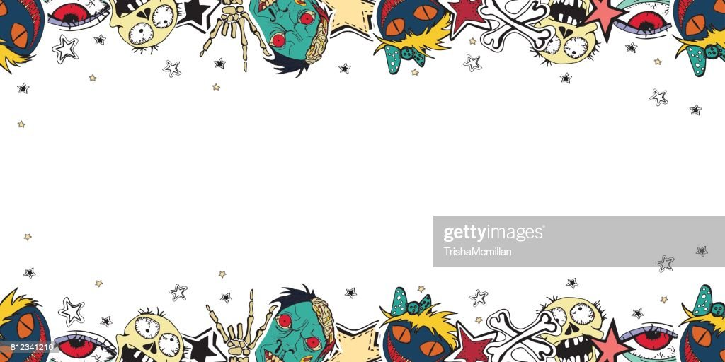 Vector cute zombie's abstract background.