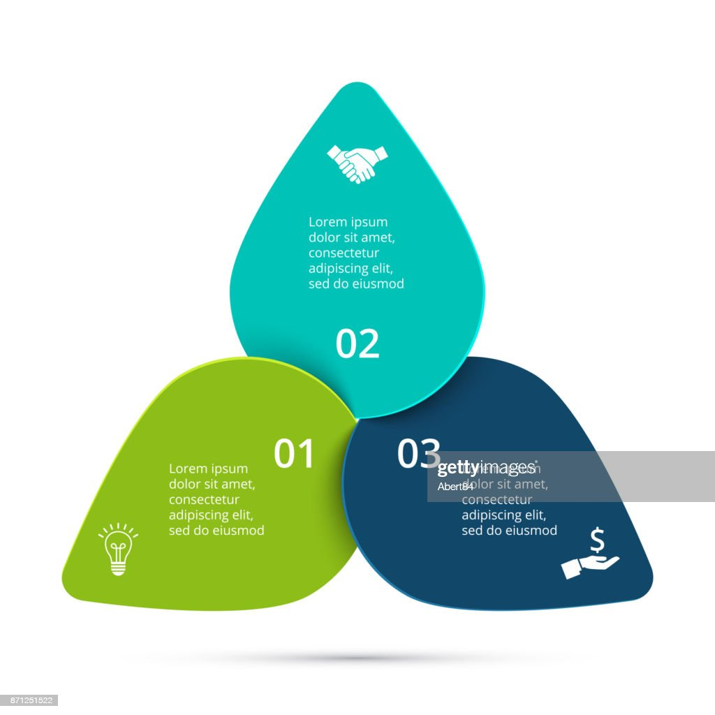 Vector cycle infographic. Template for diagram, graph, presentation and round chart. Business concept with 3 options, parts, steps or processes. Data visualization.