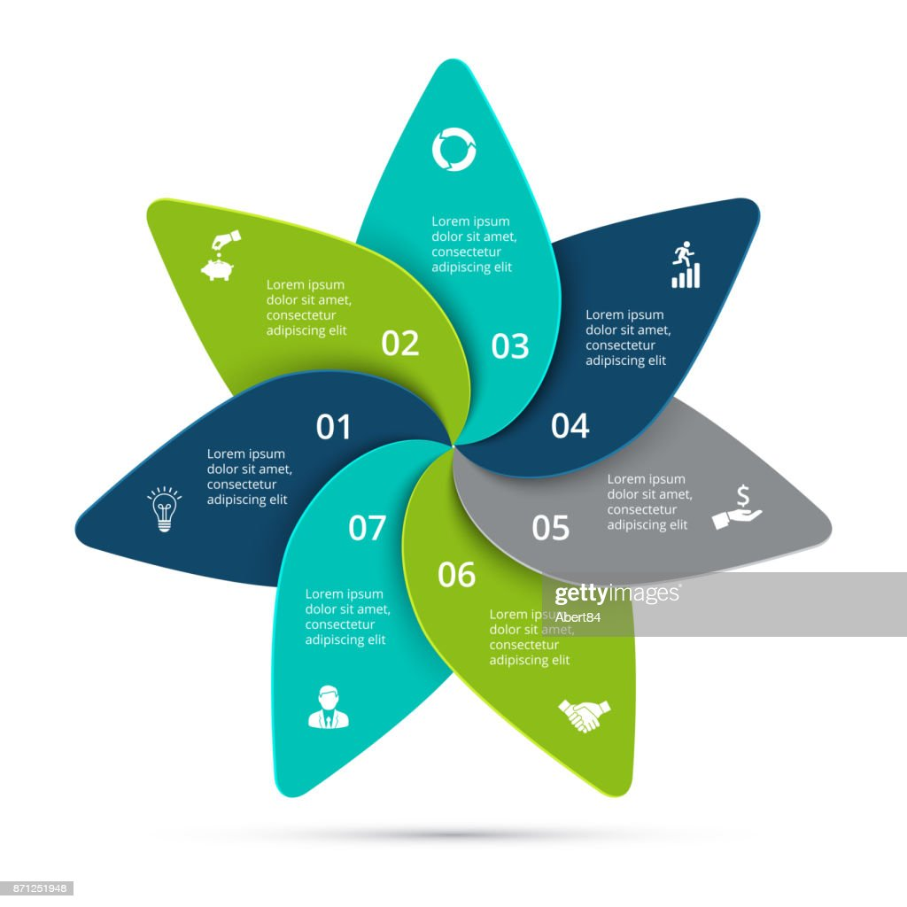 Vector cycle infographic. Template for diagram, graph, presentation and round chart. Business concept with 7 options, parts, steps or processes. Data visualization.