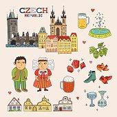 Vector Czech Republic Doodle Art for Travel and Tourism