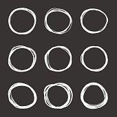 Vector dark set of hand drawn scribble circles