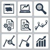 Vector data analysis icons set