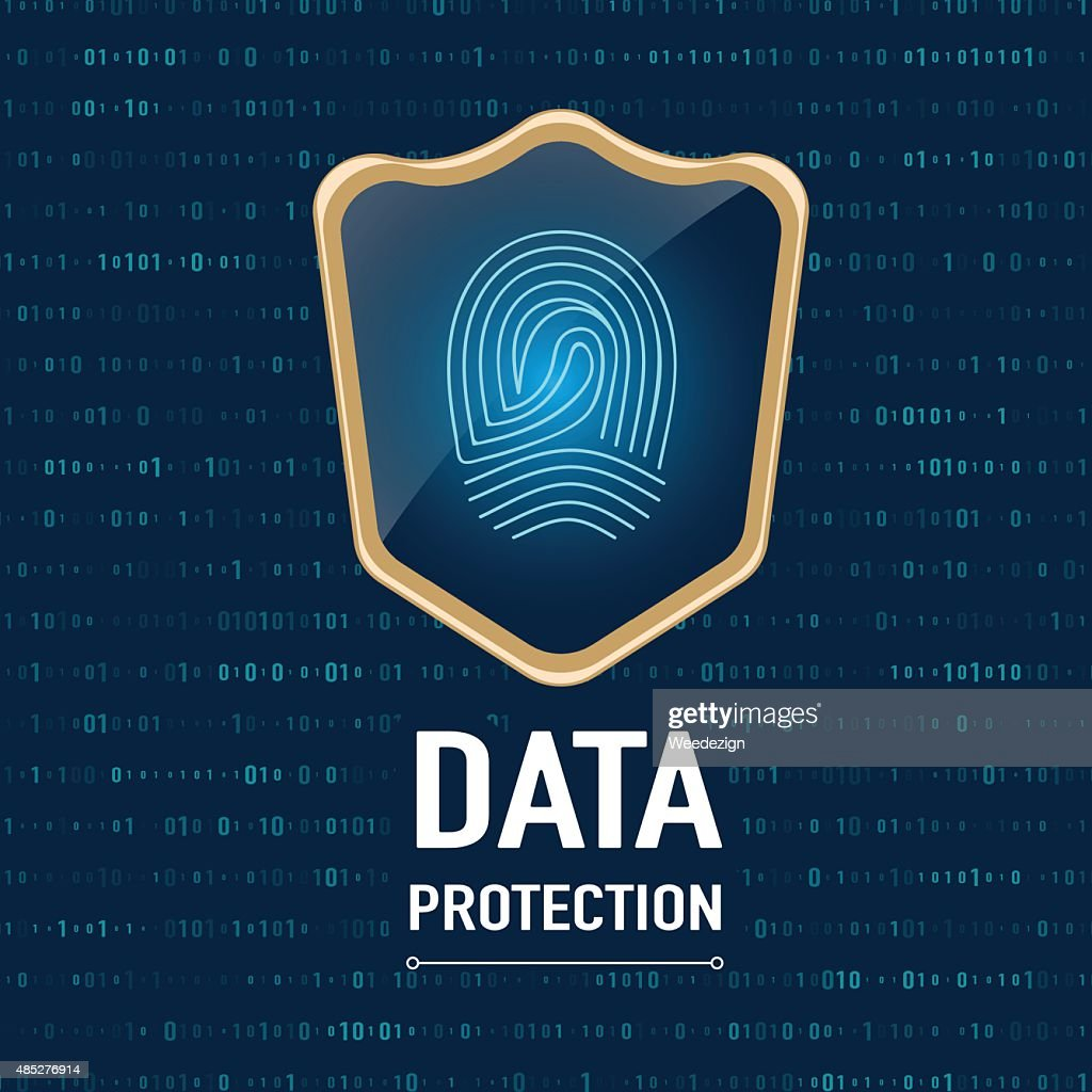 Vector : Data Protection concept, sheild protect a finger print