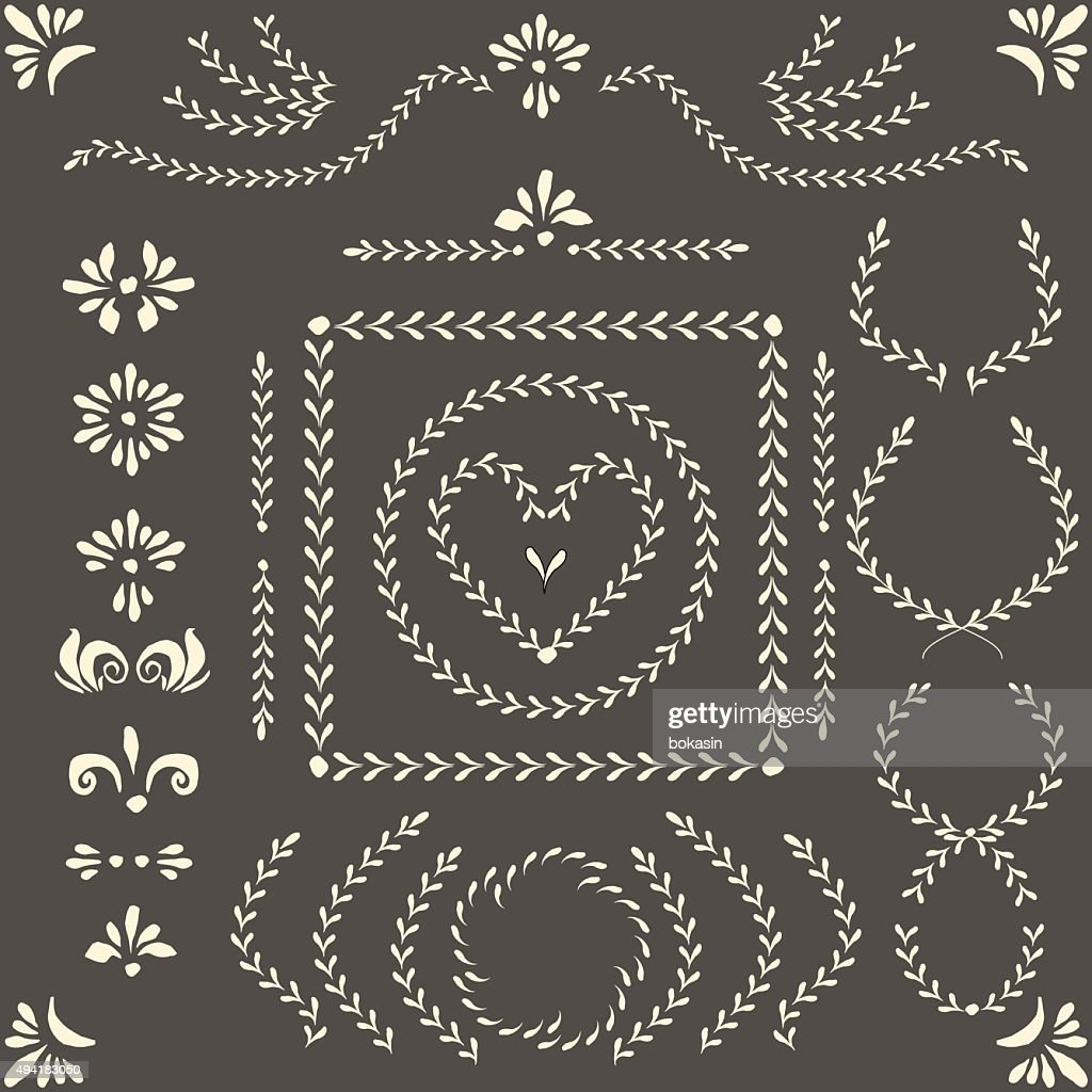 Vector decor elements, wreaths, pattern brushes