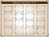 Vector decoration vintage flourish frames with elegant swirl and scroll corner elements