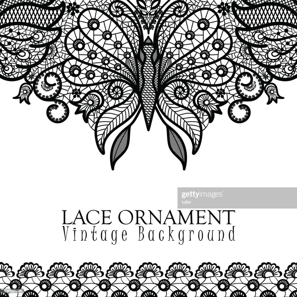 Vector decorative background with lace design and place for text. Black and white floral pattern with decorative flowers, leaves and butterfly