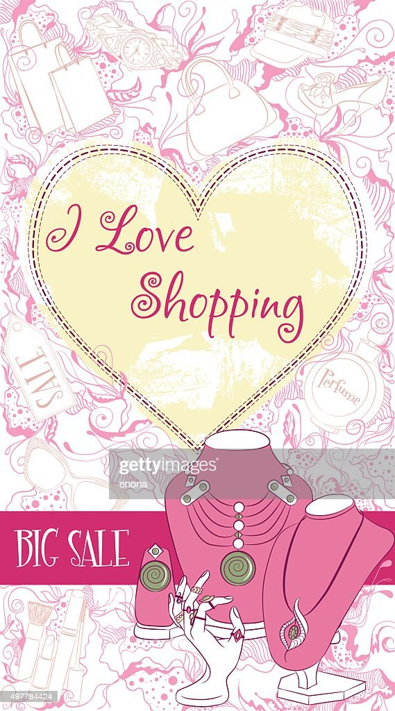 Vector decorative design card with women jewelry on stands