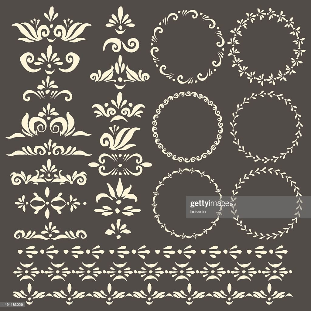 Vector decorative design elements, frames and pattern brush set