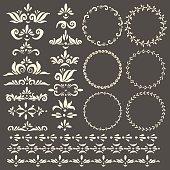 Vector decorative design elements, frames and pattern brush set