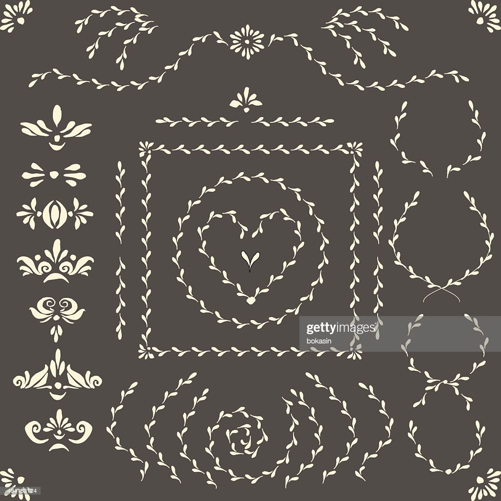 Vector decorative elements, wreaths, frames, brushes