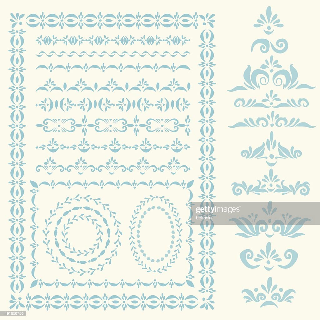 Vector decorative frames, borders and design elements set