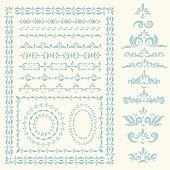 Vector decorative frames, borders and design elements set