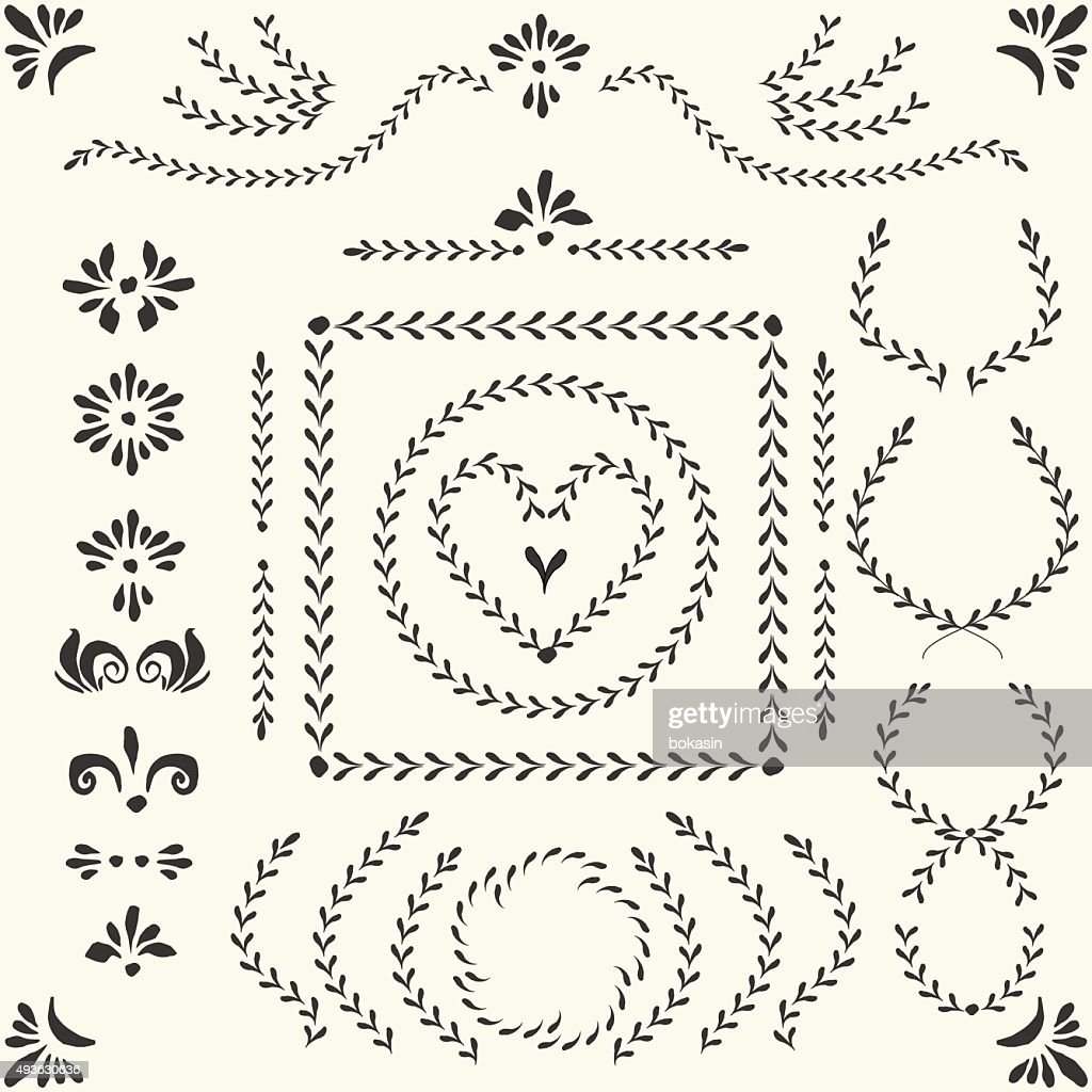 Vector decorative laurel wreaths and elements set