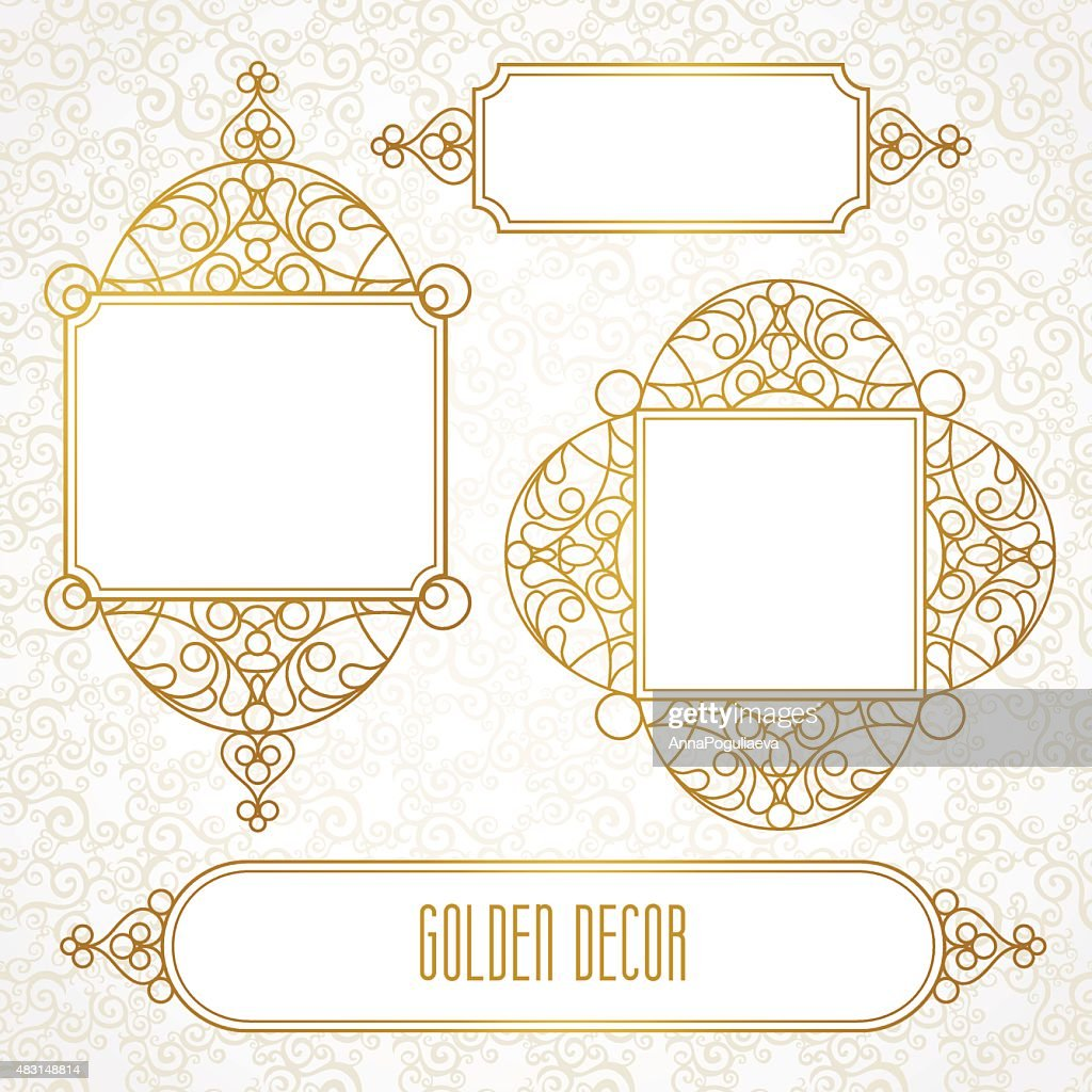 Vector decorative line art frames in Eastern style.