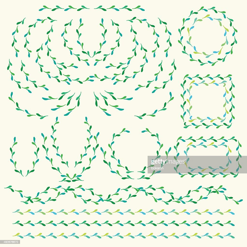 Vector decorative set of borders and shapes in green color
