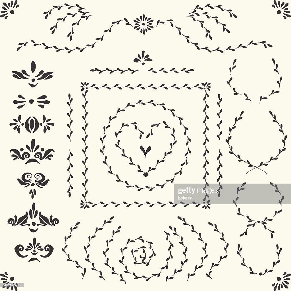 Vector decorative set with frames, headers, deviders and wreaths