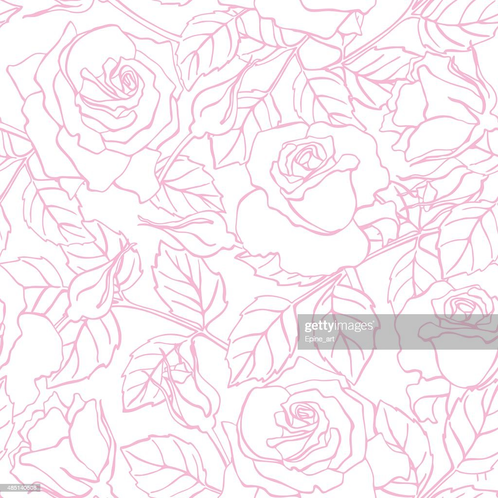 Vector delicate line rose pattern.