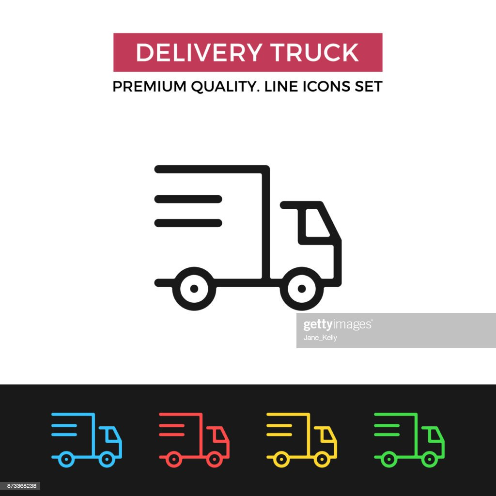 Vector delivery truck icon shipping shipment premium quality graphic modern linear stroke signs pictograms outline symbols collection simple thin line icons set for websites web design mobile app buycottarizona Choice Image