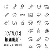 Vector dental care icons set. Thin line icons of teeth health, dentistry, medicine
