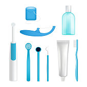 Vector dental cleaning tools set