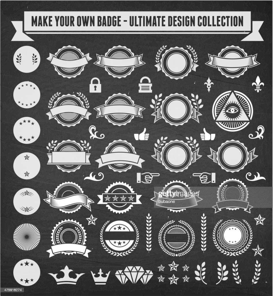 Vector Design Collection Make Your Own Custom Badge On Chalkboard