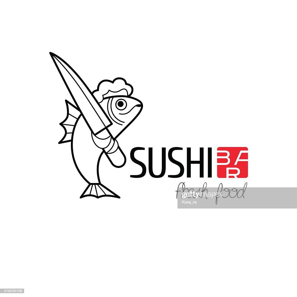 Vector design element for sushi restaurant
