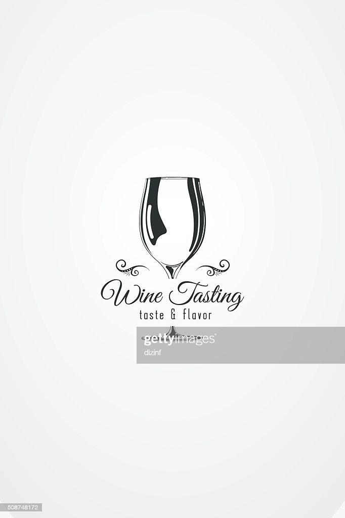 Vector design element. wine glass silhouette with decorative ornamet.