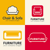 Vector design elements for furniture store. Sofa and chair icons