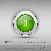 Vector design elements Green and chrome glossy button.