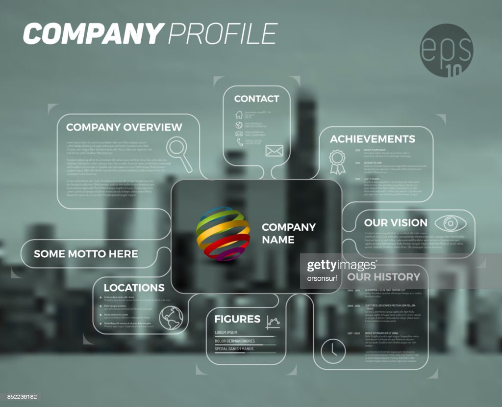 Vector design infographic template of company overview