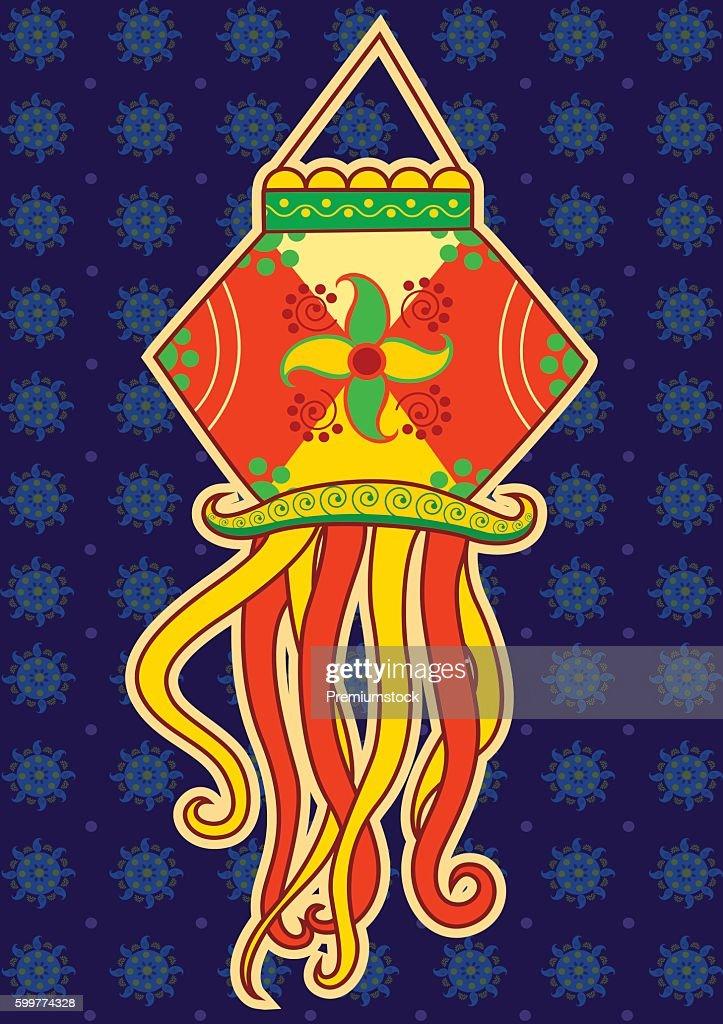 Vector design of Diwali hanging Lamp