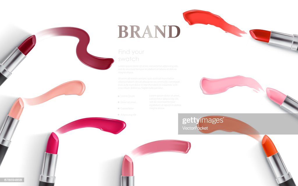 Vector design of lipstick packing and lipstick smear samples