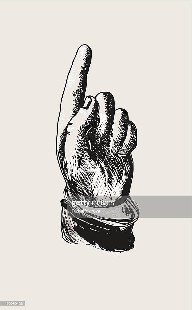 Vector design on a hand pointing upwards