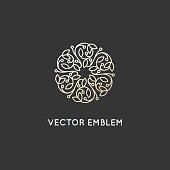 Vector  design template and emblem made with leaves and flowers
