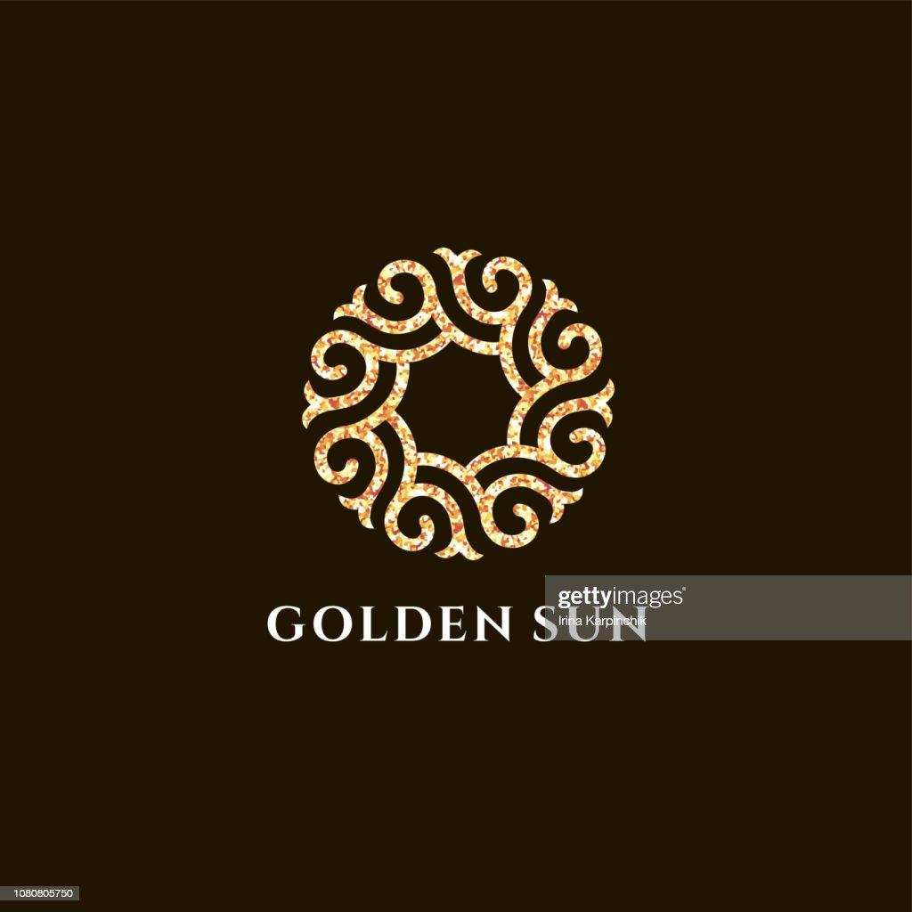 Vector design template for boutique hotel, restaurant, jewelry. Sun symbol
