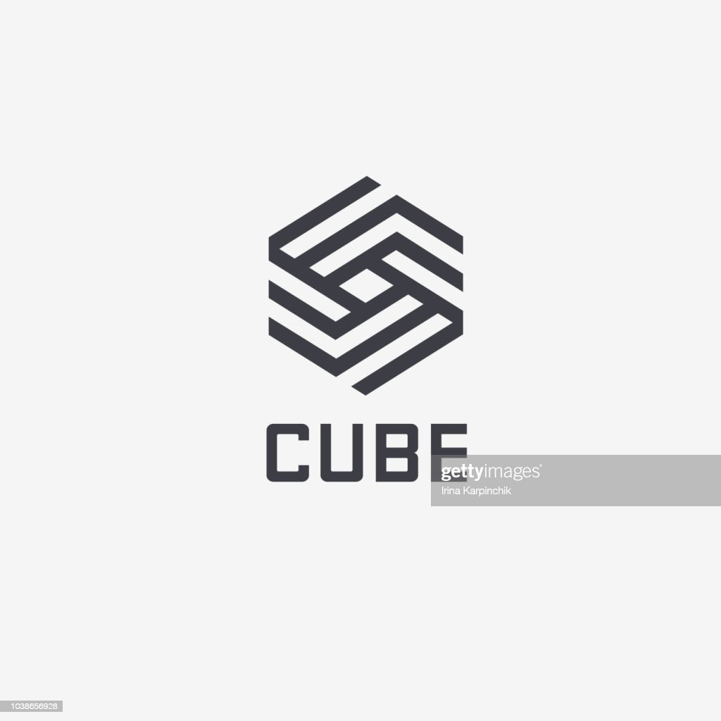 Vector design template hexagon design. Cube sign