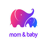 Vector design template mother elephant with a baby elephant. Mom and Baby sign