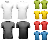 Vector design template of solid colors male t-shirts