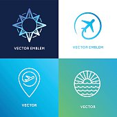 Vector design templates in trendy linear style with icons