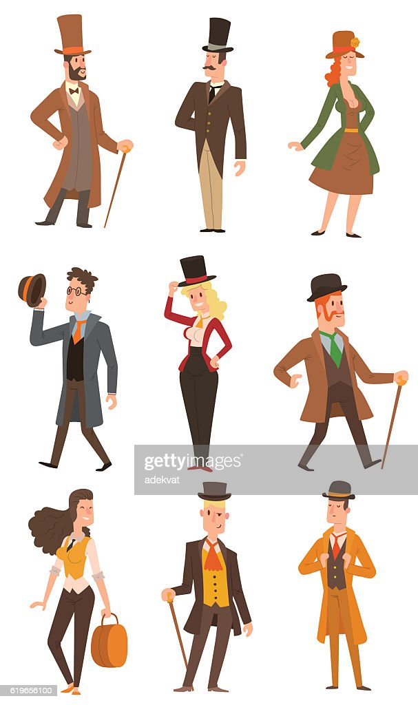 Vector design victorian people.