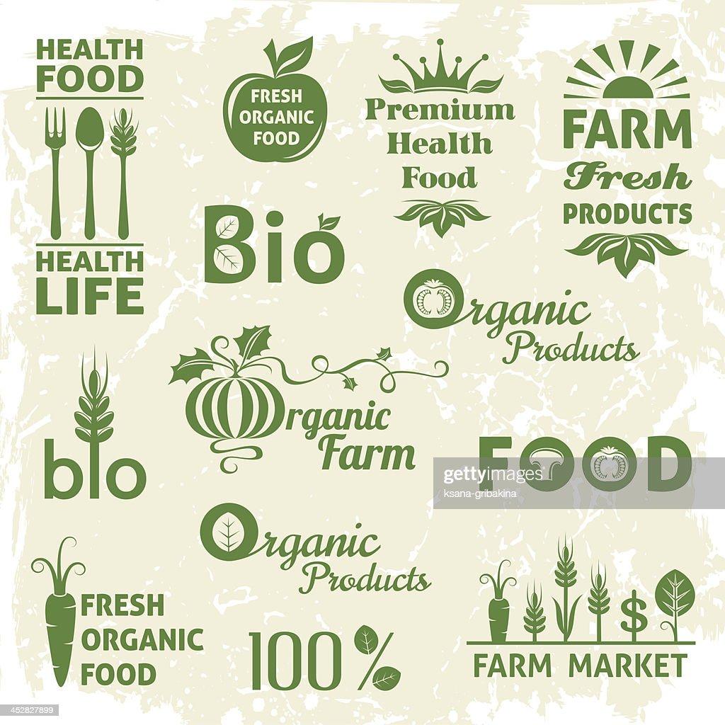 Vector designs of organic food logos
