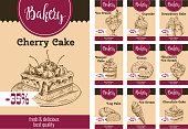 Vector dessert cakes sketch price for bakery