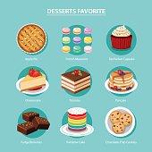 vector desserts favorite set flat design