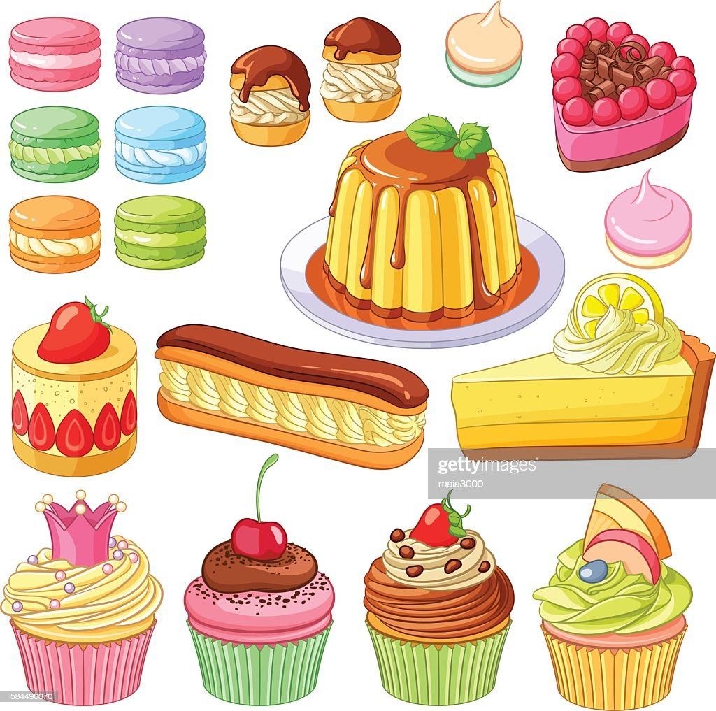 Vector desserts macaroons, profiteroles, pies, eclair, lemon cake, cupcakes