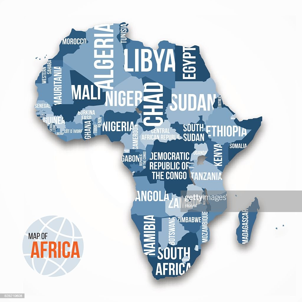 Vector Detailed Map Of Africa With Borders And Country Names Vector