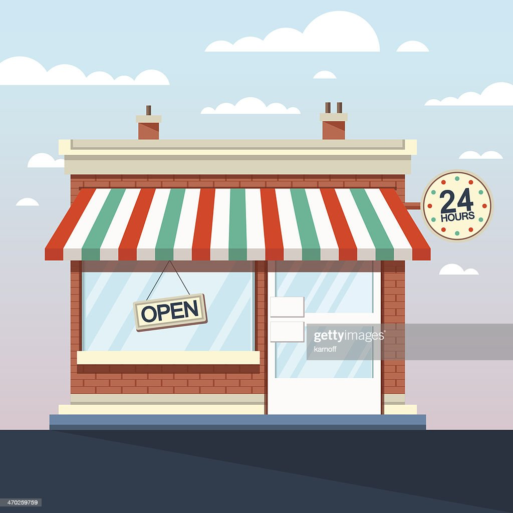 Vector Detailed Shop, Market, Store, Cafe Illustration, Icon