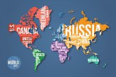 Vector detailed world map with borders and country names.